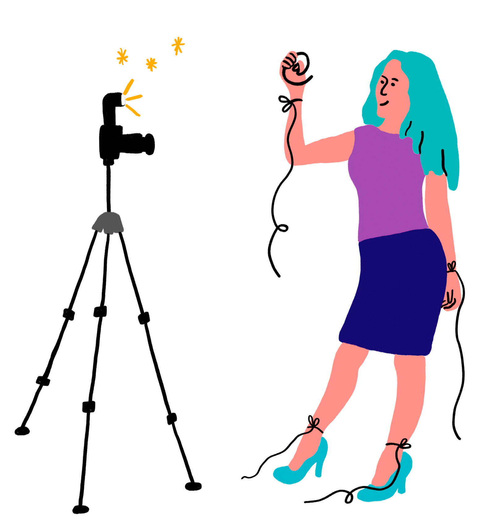 Illustration of person taking a selfie with a camera