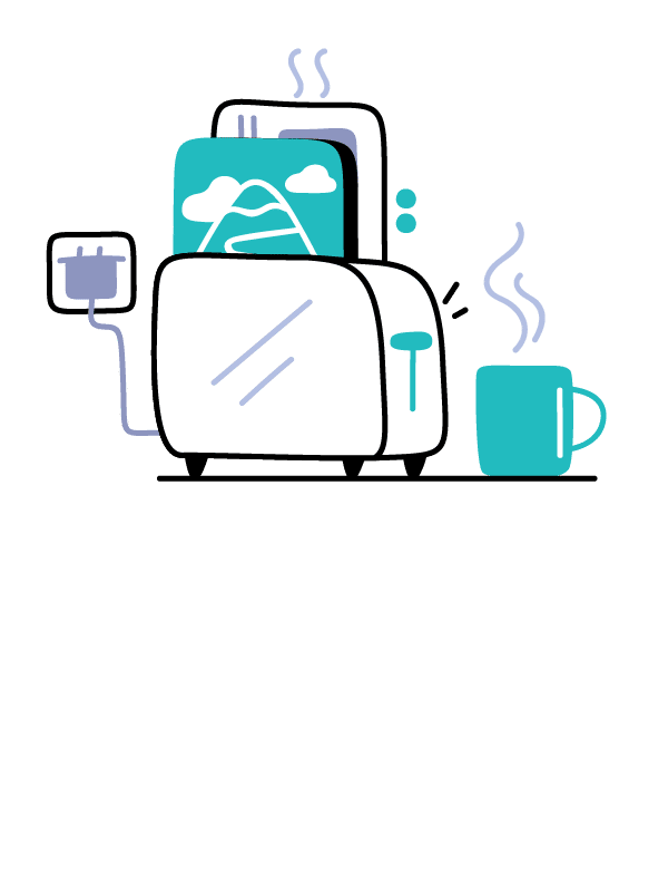 Illustration of a toaster with images and messages coming out of it