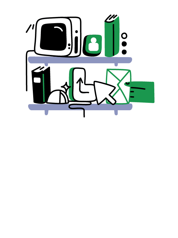 Illustration of miscellaneous items on a shelf