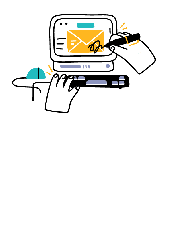 Illustration of a person signing an email
