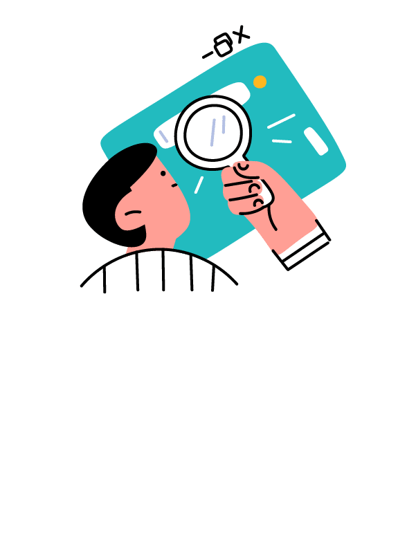 Illustration of a person using a magnifying glass on a computer screen