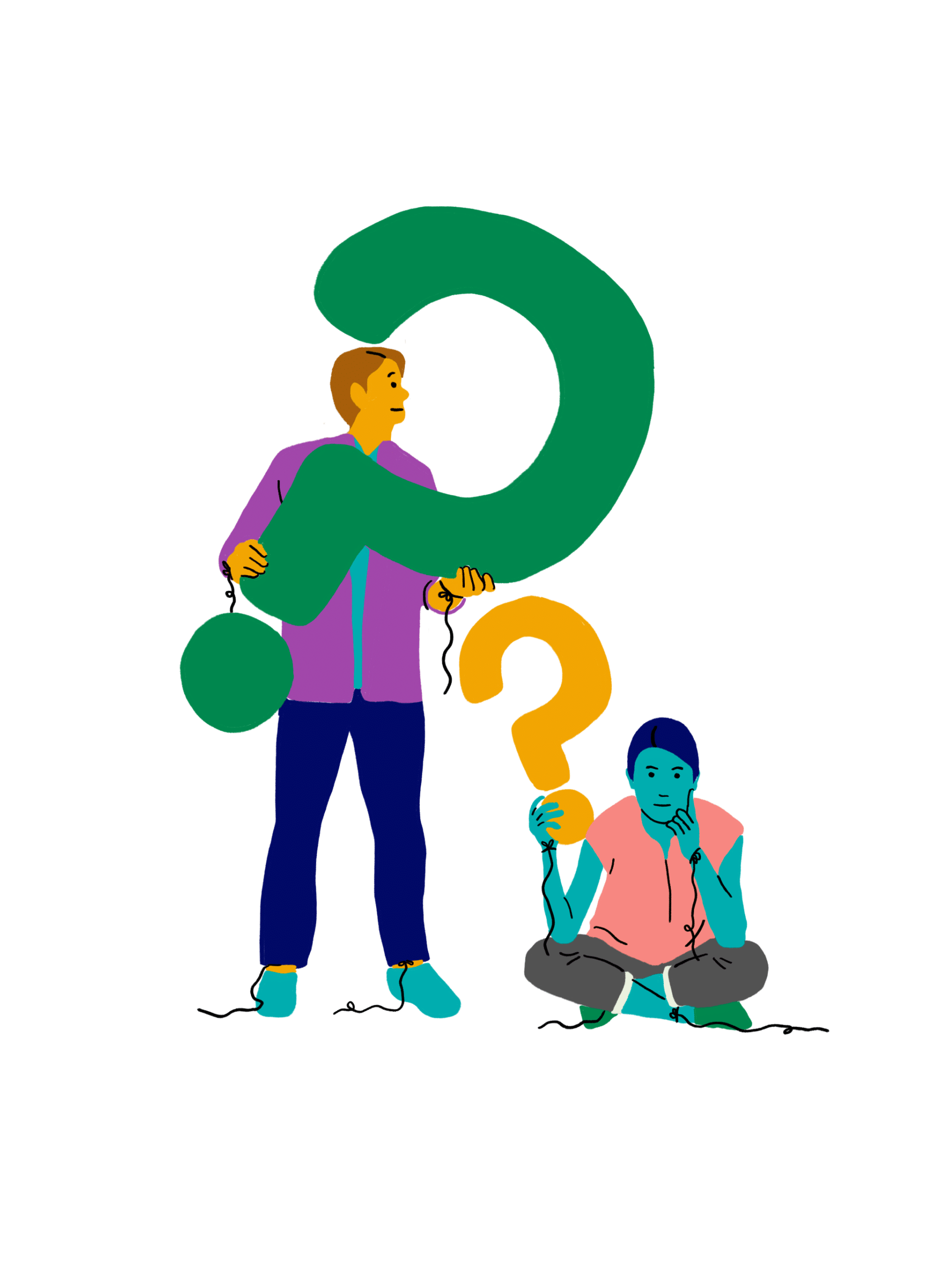 Illustration of people holding a question mark