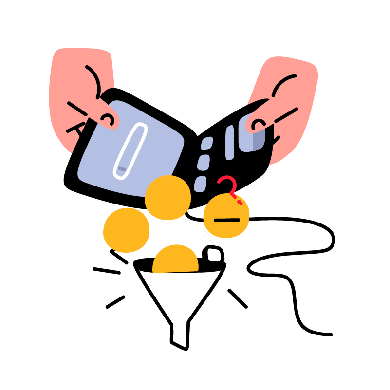 Illustration of a wallet dropping coins in a funnel