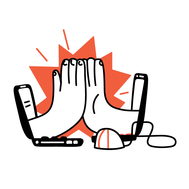 Illustration of hands coming out of two computer screens giving each other a high five
