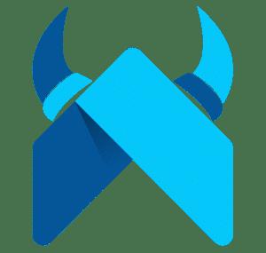 Flutter viking logo blue arrow with horns