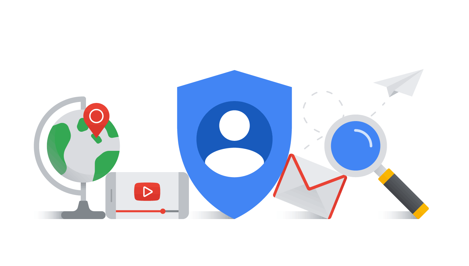 Globe, YouTube icon, shield, mail, and magnifying glass icons placed together