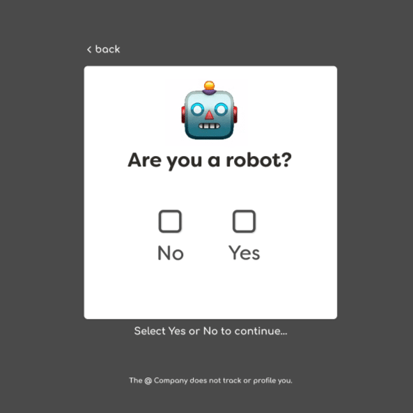 Test that asks Are you a robot?