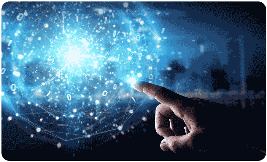 Finger touching glowing globe